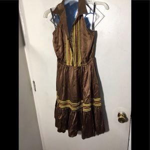 Elastic waist open back silk dress